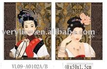 Oriental beauty Canvas Painting 2asstd