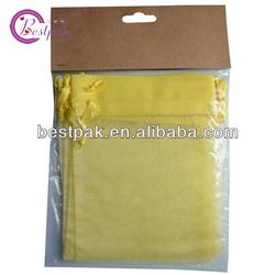 drawstring high quality yellow organza bag