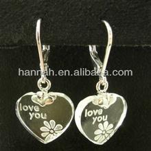 I LOVE YOU lovely glass heart Hook earrings