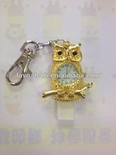 Cute Lovely Diamond Owl Shape Pendant USB Animal Shape USB with Real Clock