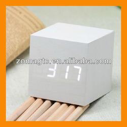 Modern White Wood USB/AAA Cube Alarm Digital LED Clock