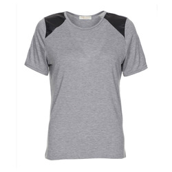 Casual PU shoulder panel t shirt lady long t-shirt
