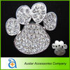 Cute 50*52mm paw crystal rhinestone brooch in silver base,rhinestone pin brooch