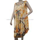Floral Pattern Dress Women Wear Rayon Maxi Sleeveless Batik Orange Tuni