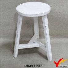 cream vintage retro 3 legged wood stool
