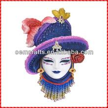 Latest hot sale handmade purple hat Wall plaque mask