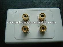 2 speaker 4 binding post banana sockets(white) panel mount gold plated