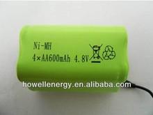 high quality ni-mh battery pack 600mah 4.8 volt