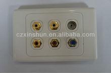 Golden multiple Audio speaker jacks SAT and TV jacks panel mount Austrilian standard