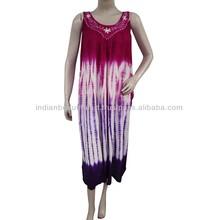 White Sundress Rayon Women Tunic Embroidered Long Sleeve Batik Dress India