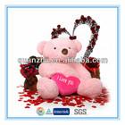 Custom handmade valentine stuffed plush toy bear with red heart