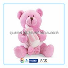 Custom plush teddy bear baby toy with baby feeding bottle
