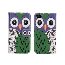 Colorful Night Owl Flip Wallet Purse Stand Leather Case Cover For iPhone 4 4S accessories, With Card Holder