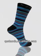 Popular black blue men custom fancy colored dress socks stripe stocking