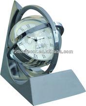 promotional metal clock zinc alloy table clock tellurion/globe shape desktop clock