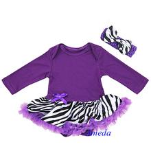 Baby Purple Zebra Long Sleeves Jumpsuit Bodysuit Pettiskirt and Headband NB-18M