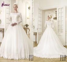 Lwd-061 clásico elegante cuello bateau bola vestido con encaje de manga larga importados vestidos de novia
