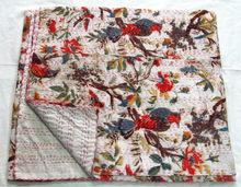 Bird print kantha work printed bed sheets