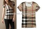 2013 Summer New Fashion Burb Brand Women T-shirt,Women Short Sleeve T-shirt, Pink Plaid Shirt