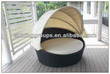 Environmental Rattan Round Sun Bath Lounger Bed