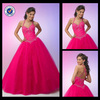 WB00082 Elegant magic halter sweetheart ruched corset bodice ball gown hot pink no train wedding dress patterns
