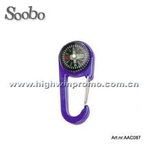 Hot selling flat metal carabiner compass