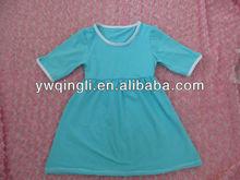 Latest Design Kids Summer Clothing Toddler Short Sleeves Aqua Plain Color Cotton Lap Dresses For Girls