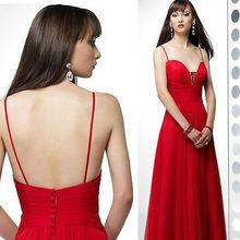 HE0301 deep sweetheart neckline spaghetti strap low back floor length flowing skirt very cheap red chiffon overlay evening dress