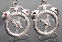 Fashion New Exquisiite Rhinestone Alarm Clock Keychain Couple Valentine's Day Gift