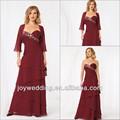 8017 vin. dernière conception formelle robe de soirée à plusieurs niveaux avec une jupe en ligne boléro manches évasées 3/4