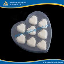 customised heart shape plastic clear box