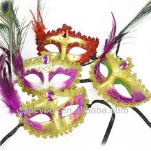 Peacock Feather Haif Face Venetian Masquerade Mask
