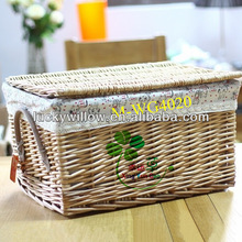 Empty wicker gift / picnic basket with leather handle and lid