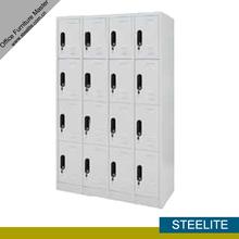 large 16 compartments white steel marine wardrobe / CKD 4-layer white 16-door metal ski locker for sale