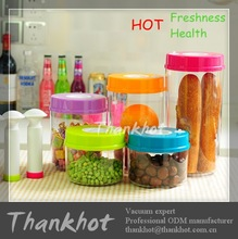 Popular Plastic clear vacuum food storage box with pump