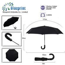 custom foldable high quality curved handle auto open close umbrella shenzhen