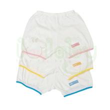 100% algodão roupas de bebê bebê hem shorts branco com colorido fronteira