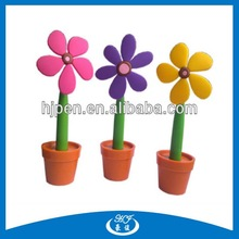 Sun Flower Shape Pen With Cute Flowerpot Plastic Stand Ball Pen for Promotion
