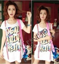 Women's Summer False Braces Long Letter Print white t shirts Loose Short Sleeve T-shirt Tops 10824