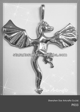 P033 316l stainless steel fly horse design your own pendant