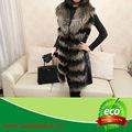 De las señoras cálido/suave de piel de mapache cuello/la piel del conejo de piel/sin abrigo de la manga