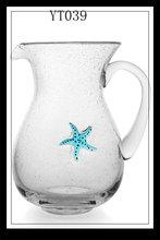 Classic beach beer ,juice glass pot,sea star Glass