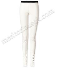 Mulheres moda suave calças de couro branco