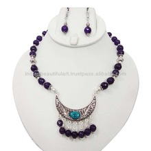 TRIBAL AMETHYST STONE SILVER TONE BEADED EARRING NECKLACE SET FASHION JEWELRY