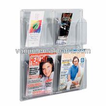 4 Pockets 2-tier Acrylic Wall Mounted Open Slatwall Magazine Rack 7081401204
