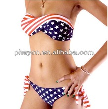 <OEM & ODM Service> 2014Sexy twisted bikini top , sexy sales promotion lady open, sexy stars and stripe flag open bikini