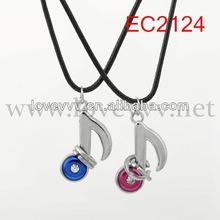 music note alloy pendent black rope couples necklace