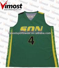 Coolmax mesh breathable basketball uniform design green