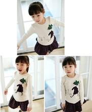 2014 NEWEST KOREA KIDS GIRLS FANCY LONG SLEEVE BEAUTIFUL T-SHIRTS