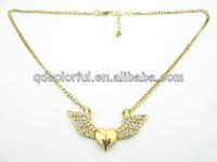 YN6664 rhinestone angel wing gold necklace for women qingdao jewelry european
